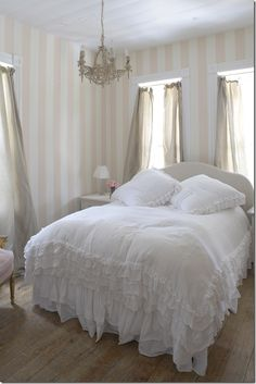 pink & white stripes with white bedding