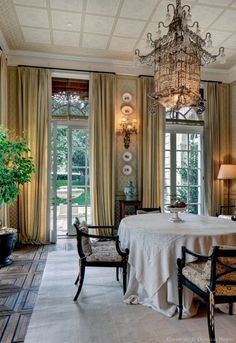 French dining room...chandelier, floor, new neutral.