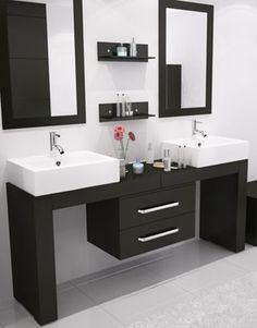 """his is truly a unique vanity made exclusively by JWH Imports that can fit any width between 67"""" and 114"""" in any configuration you can dream up. This stylish modern vanity exudes modern elegance in a way no other bathroom cabinet can. Eye-catching and exciting, this vanity features a totally unique and customizable design that easily mounts to any wall."""