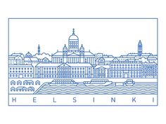 Helsinki designed by Vitaliy Kapustyanov. Connect with them on Dribbble; Helsinki, Flat Illustration, Illustrations, Coloring Sheets, Line Art, Graphic Design, Drawings, Spreads, Architecture