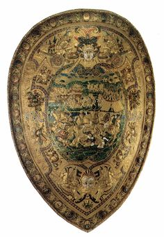 CELLINI, Benvenuto Shield c. 1572 Embossed, chased, and gold-plated iron, 68 x 49 cm Musée du Louvre, Paris