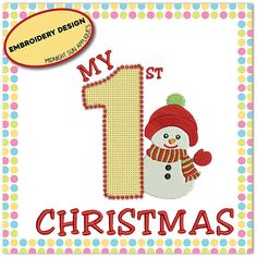 My first christmas embroidery design christmas My First Christmas, Midnight Sun, Christmas Embroidery, Machine Embroidery, Embroidery Designs