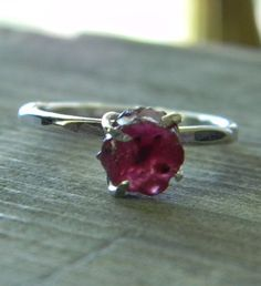 Rough Ruby Ring Raw Rustic Prong Set Gem in Sterling by DearAnge, $59.00