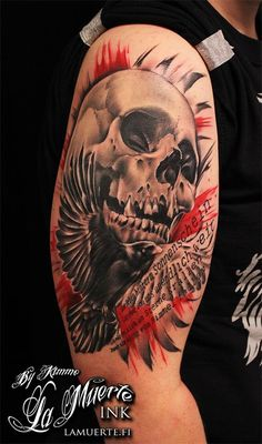 Trash polka skull and bird tattoo by KimAnger