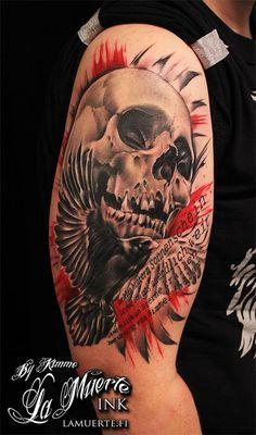 Trash polka skull and bird tattoo by KimAnger