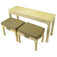 1stdibs | Henredon Goatskin Finish Lacquered Chinoiserie Console & Benches