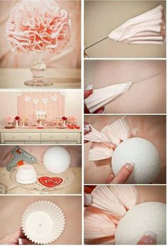 Make cute table decor using a styrofoam ball, cupcake cups, needles, a hot glue gun 50th Party, Diy Party, Party Favors, Party Ideas, Do It Yourself Baby, Do It Yourself Crafts, Styrofoam Art, Cupcake In A Cup, Shabby Chic Crafts