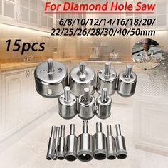 Best Pictures Ceramics Tile flower Strategies Drill holes in anything, with this 15 piece set of diamond drill bits. Use them on ceramic tiles, f Glass Ceramic, Porcelain Tile, Display Resolution, Hole Saw, Shape Design, Kitchen And Bath, Granite, Marble, Diamond