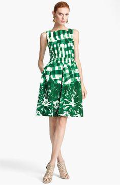 Oscar de la Renta Print Piqué Dress available at Green Fashion, Love Fashion, Fashion Outfits, Womens Fashion, Fashion Trends, Nordstrom, Mode Style, Day Dresses, African Fashion