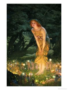 Midsummer Eve, a painting by Edward Robert Hughes - one of my all-time favorites - lucky enough to find a large print at Goodwill :)
