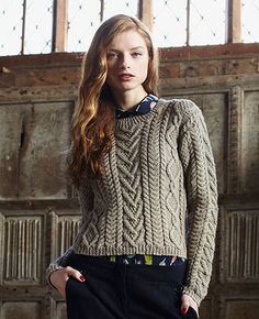 bfc4d0d20ad79c Cable Panelled Sweater Free Knitting Pattern