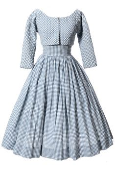 """Vintage 1950s Anne Fogarty Dress and Bolero Pretty 1950's strapless gingham dress with original belt (not shown in photo), back zipper, and matching zip front lined bolero jacket. The outfit is in excellent condition and is shown with a crinoline (not included) to show off the full potential of the skirt. Really wonderful vintage outfit to add to your wardrobe! Anne Fogarty Margot Inc. label.    Dress Bust  34""""   Dress Waist  24""""   Dress Hips Free   Dress Length from under a..."""