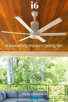 """The modern, industrial-inspired look of the i6 ceiling fan collection by Big Ass Fans is now available at LightsOnline! Crafted from premium materials, engineered for performance and durability, i6 also features SenseME technology that senses temperature, humidity and occupancy. The i6 is offered in many sizes and finish options. Shown here is the 60"""" size in white finish. #CeilingFans #OutdoorCeilingFans Outdoor Ceiling Fans, Decks And Porches, Lighting Online, Modern Industrial, Indoor Outdoor, Technology, Lights, Inspired, Big"""