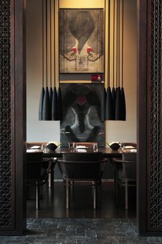 Dining Room - Sexy, dramatic  exotic all in one.....a true dining experience.   (re-pinned photo from The Setai Hotel, Miami, Florida)