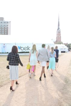 Fashion Bloggers from the Belk Southern Style Summit headed to the Belk Tent at Charleston Fashion Week 2015 #CHSFW #BelkScene