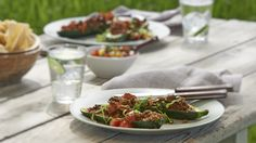 Hot days and lakeside vacations call for patio-friendly fare. Here are some summer recipes to get you started. Epicure Recipes, Good Food, Yummy Food, Zucchini Boats, Weekday Meals, Some Recipe, Tacos, Grilling Recipes, Summer Recipes