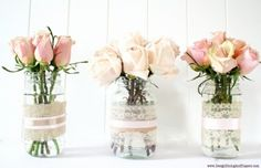 mason, jar, jars, glass, recycled, vase, vases, flower, flowers, rose, roses, pink, white, lace, burlap