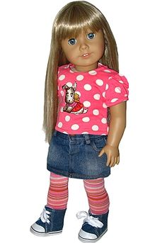 "sillymonkey.com.  Trendy 18"" AG doll clothes.  Skirts Outfits for American Girl Dolls"