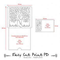 Die Cut Pocket Envelope Template With Cutout Pattern Wedding