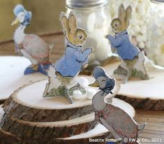 Peter Rabbit Decorations....Could remake by scanning in images and printing out onto cardstock.  Definitely easier if kept one sided...