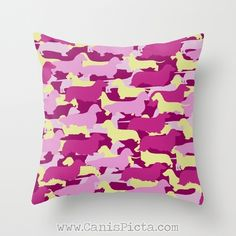 Excited to share this item from my shop: Camo Dachshund Decorative Throw Pillow Cushion Cover Couch Art Interior Home Decor Pattern Pink Cream Wire Long Smooth Doxie Fuchsia Bright Pillows, Pink Throw Pillows, Colorful Pillows, Outdoor Pillow Covers, Throw Pillow Covers, Pink Throws, Dog Silhouette, Best Pillow, Graphic Prints