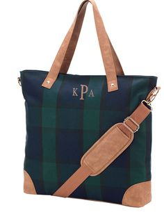 Plaid Satchel Tote Bag | Monogram