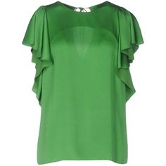 Lanvin Blouse (8 330 ZAR) ❤ liked on Polyvore featuring tops, blouses, green, short-sleeve blouse, lanvin blouse, round collar blouse, lanvin and green top
