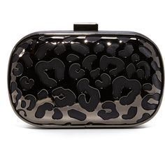 Inge Christopher Tatiana Leopard Clutch (8.515 RUB) ❤ liked on Polyvore featuring bags, handbags, clutches, black, kisslock handbags, leopard handbag, leopard print handbag, kiss lock purse and animal print clutches