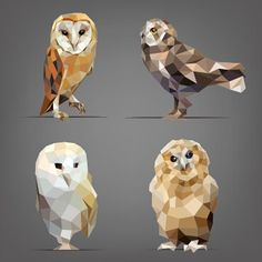 Find Vector Illustration Set Owls Origami Style stock images in HD and millions of other royalty-free stock photos, illustrations and vectors in the Shutterstock collection. Geometric Owl, Geometric Shapes, Origami, Polygon Art, Illustration, Disney Tattoos, Animal Design, Vector Graphics, Painting Inspiration