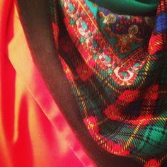 Vintage plaid and paisley scarf, red blazer.