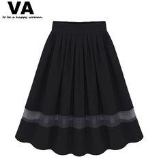 Women's Pleated Elastic Waist Knee Length Tutu Skirt 2 Colors L-4XL