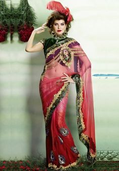 "Shaded Red And Pink Net With Satin Inner Designer Elegance Saree With Inner Designed.  INR:-9,270 Only (With Discount 25% !! Use Coupon Code ""FLAT 25″ To Avail The Discount)"