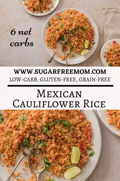 This quick and easy Keto Low- Carb Mexican Cauliflower Rice is a perfect side dish with any entree! | Sugar Free Mom Vegetarian Side Dishes, Keto Side Dishes, Side Dishes Easy, Side Dish Recipes, Clean Eating Recipes, Healthy Dinner Recipes, Healthy Eating, Cooking Recipes, Keto Recipes
