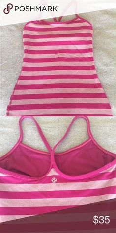 Lululemon Power Y Tank Top (sz 4) Lululemon Power Y Tank, size 4, raspberry micro/macro stripes, excellent condition, worn only a couple times!  Super cute top. Bra pad inserts not included. lululemon athletica Tops Tank Tops
