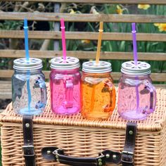 Colourful Glass Drinks Jars