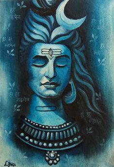 Shiva Art, Krishna Art, Shiva Hindu, Canvas Art Projects, Canvas Painting Tutorials, Ganesha Painting, Lord Shiva Painting, Indian Art Paintings, Modern Art Paintings