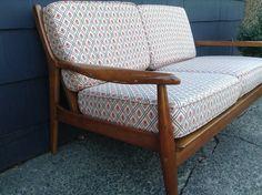 Mid Century Modern Bench - Mid Century Couch Settee -Modern Danish Wooden Sofa - Danish Love Seat by DareToBeVintage on Etsy
