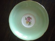Vintage Royal Grafton Shabby Chic Gold Edge Mint Green Pink Rose Teacup Saucer