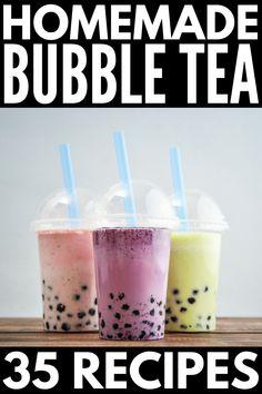 Fruit Tea Recipes, Milk Tea Recipes, Green Tea Recipes, Easy Drink Recipes, Easy Bubble Tea Recipe, Bubble Tea Flavors, Coconut Milk Tea, Coconut Bubble Tea Recipe, Mango Milk Tea Recipe