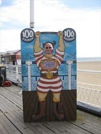 A strong man can be seen on Britannia Pier in Great Yarmouth.