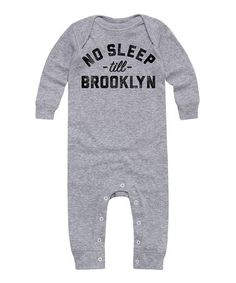 02a5d01f999f Love this Athletic Heather  No Sleep Till Brooklyn  Long-Sleeve Romper -  Infant