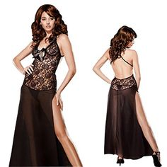 71bf78f63f1 Name  HiSexy Women s Sexy See Through Lingerie Backless Split Halter  Sleepwear Long Floral Lace Night