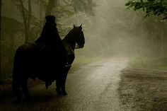 On a dark road to the great abyss of time and possibility. #goth #spooky #Halloween #horse #dark #eerie #beautiful