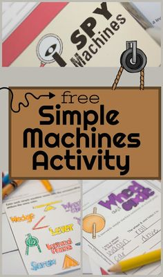 FREE I Spy Simple Machines Kids Activity - this is such a fun science scavenger hunt that helps kids learn, practice, an Stem Science, Preschool Science, Teaching Science, Science For Kids, Kindergarten Activities, Science Activities, Teaching Kids, Kids Learning, Science Experiments