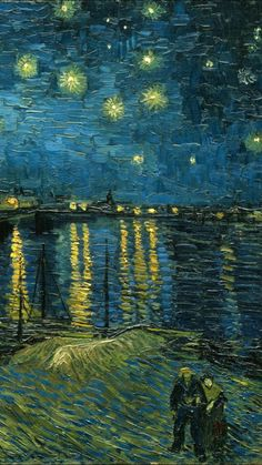Vincent van Gogh - Starry Night over the Rhone, 1888 (Detailed) (Musee d'Orsay Paris France) at Munch: Van Gogh Exhibit - Van Gogh Museum Amsterdam Netherlands (Munch: Van Gogh Exhibit Catalog) Vincent Van Gogh, Van Gogh Arte, Handy Wallpaper, Van Gogh Wallpaper, Iphone Wallpaper, Van Gogh Museum, Van Gogh Paintings, Classic Paintings, Famous Art