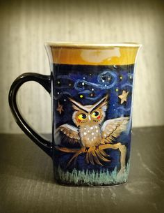Night Life, Owl Bats and Cat, Hand Painted Mug / Coffee Cup