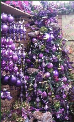 Violet/purple, store ornament display, with a decorated Christmas tree.