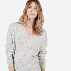 A slouchy, feminine V-neck, made in the softest Mongolian cashmere we could…