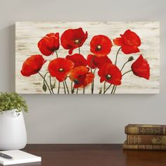 Winston Porter 'French Poppies' Painting Print on Wrapped Canvas Poppy Flower Painting, Poppies Painting, Watercolor Flowers, Flower Art, Watercolor Paintings, Poppy Drawing, Cactus Flower, Painting On Wood, Painting Prints