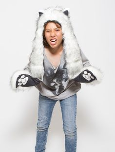 What's Your Spirit Animal? ..... HUSKY (Faux Fur) .................... Traits: Brave > Athletic > Adventurous .............................. Find out more about the #Husky #Spirit #Animal at: https://www.spirithoods.com/kids/boys/husky/791/# $69 #Gifts #Fashion #SpiritHood #SpiritHoods #Hoodie #FauxFur #Paws #Scarf #Kids #Boys